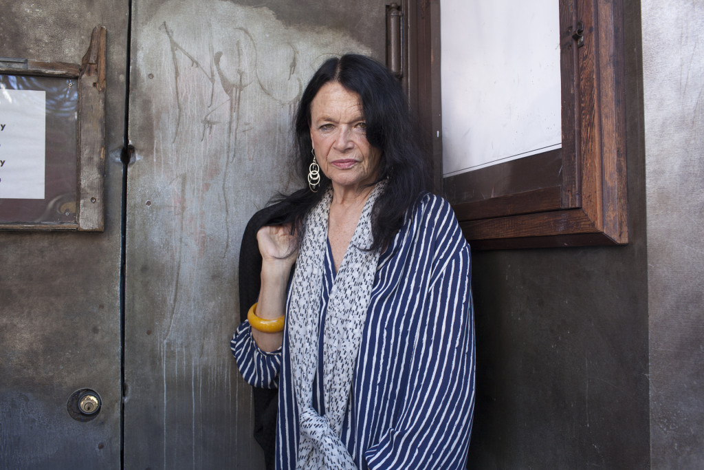 Anne Waldman standing outside the Roxie Theater, San Francisco | Photo by Pamela Gentile